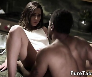 Cute babe creampied by black..