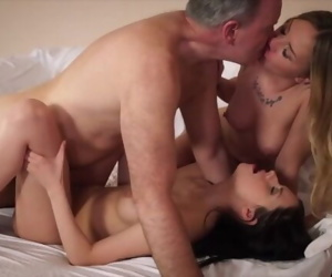 Hot old vs young threesome..